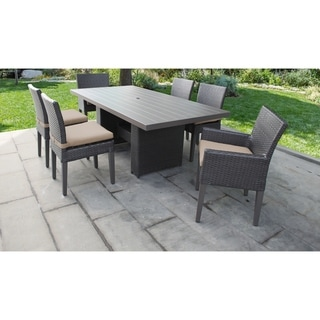 Belle Rectangular Outdoor Patio Dining Table with 4 Armless Chairs and 2 Chairs w/ Arms