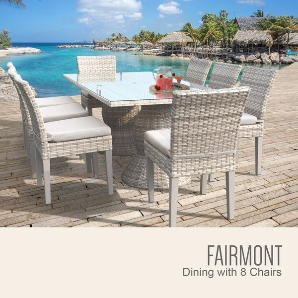 Fairmont Rectangular Outdoor Patio Dining Table with 8 Armless Chairs