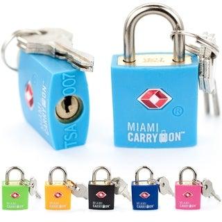 Miami CarryOn TSA Approved Padlock - Keyed Luggage Lock - 2 Pack