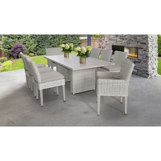 Coast Rectangular Outdoor Patio Dining Table with with 6 Armless Chairs and 2 Chairs w/ Arms