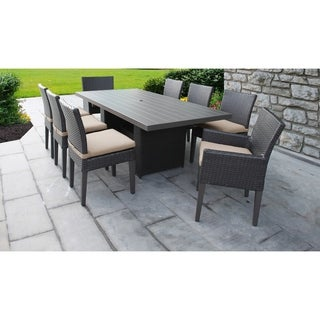 Barbados Rectangular Outdoor Patio Dining Table With 6 Armless Chairs And 2 Chairs W/ Arms