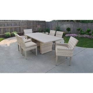 Fairmont Rectangular Outdoor Patio Dining Table with 4 Armless Chairs and 2 Chairs w/ Arms