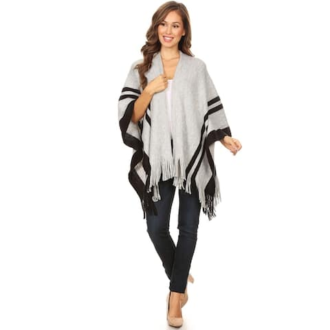Women's Solid Print Casual Comfy Loose Pullover Poncho Sweater