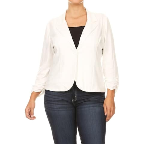 Women's Solid Plus Size Ruched Sleeve Buttoned Business Casual Blazer Jacket