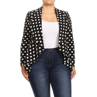 Women's Solid Plus Size Casual Comfy Open Front Blazer Jacket