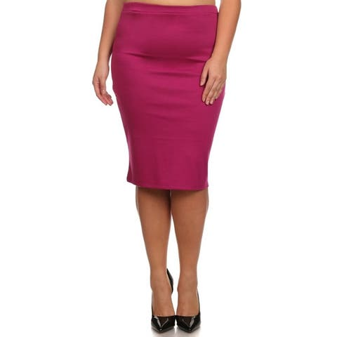 Women's Solid Plus Size Casual Office Midi Stretchy Pencil Skirt