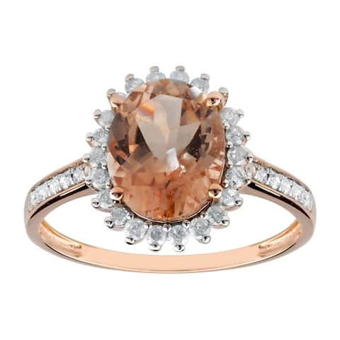 14K Rose Gold 2.75ct TW Genuine Morganite and Diamond Halo Engagement Ring