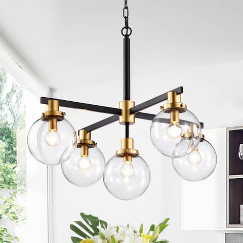 Carbon Loft McKinnon 5-light Matte Black and Gold Chandelier with Glass Globe Shades