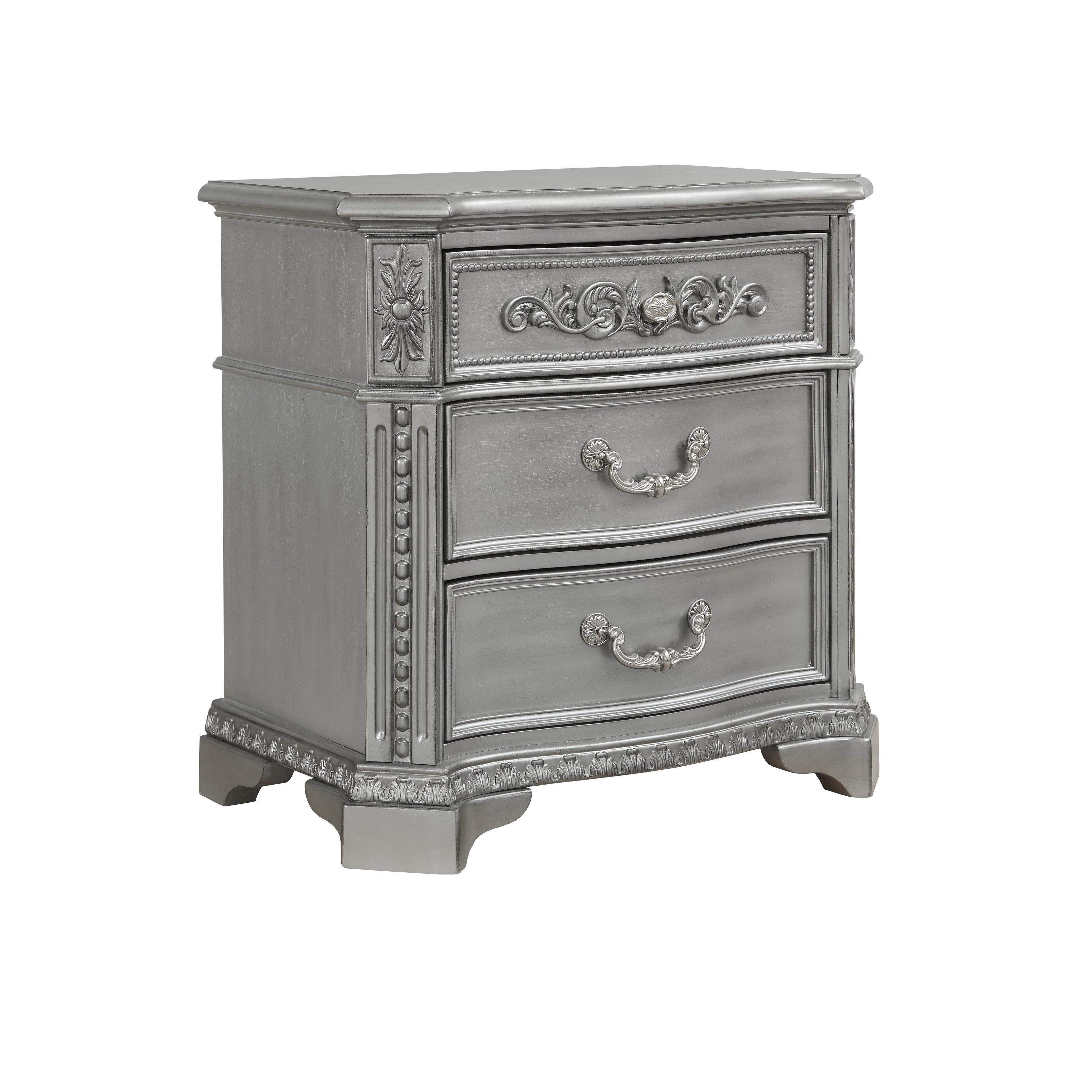 Global Furniture Juliet Antique Silver Nightstand