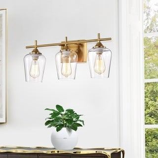 Link to Patra 3-light Polished Brass Wall Sconce with Wine Glass Shades - Gold Similar Items in Bathroom Vanity Lights