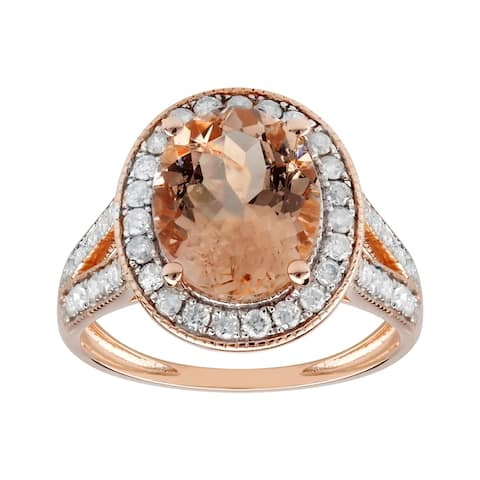 14K Rose Gold 3.02 carat TW Genuine Morganite and Diamond Halo Engagement Ring