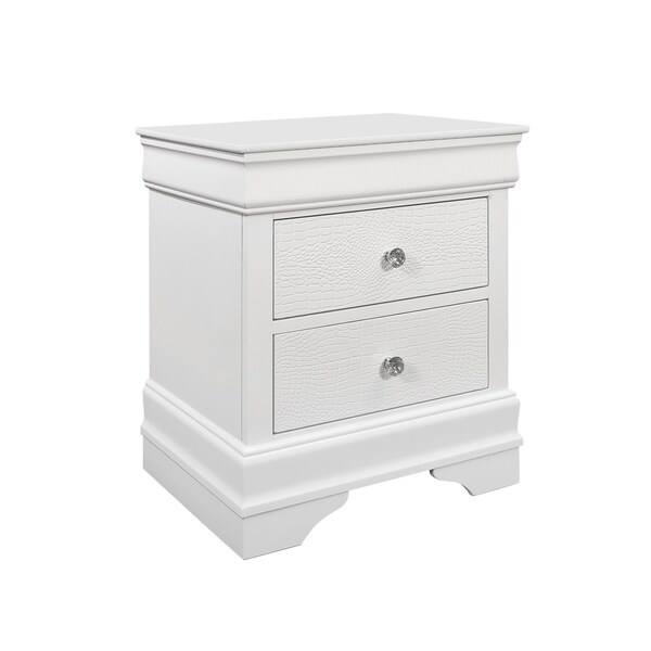 Global Furniture Pompei Metallic White Nightstand