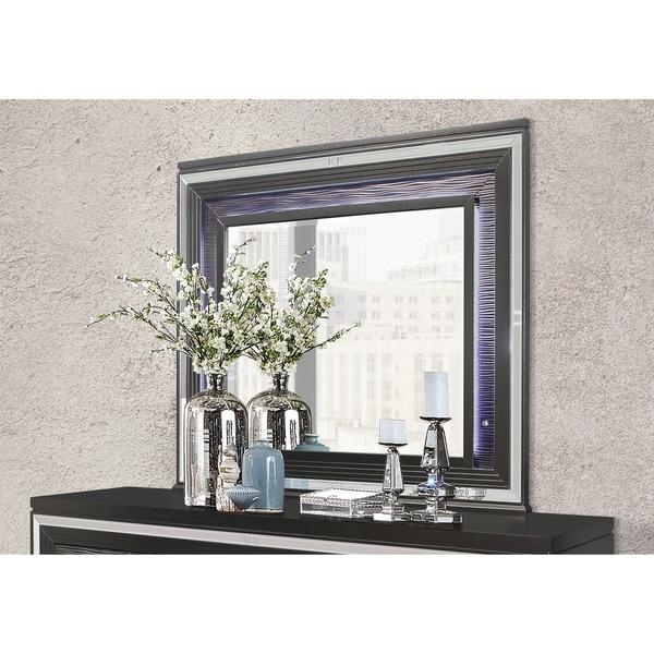 Global Furniture Palermo Metallic Grey Mirror w/ LED Light