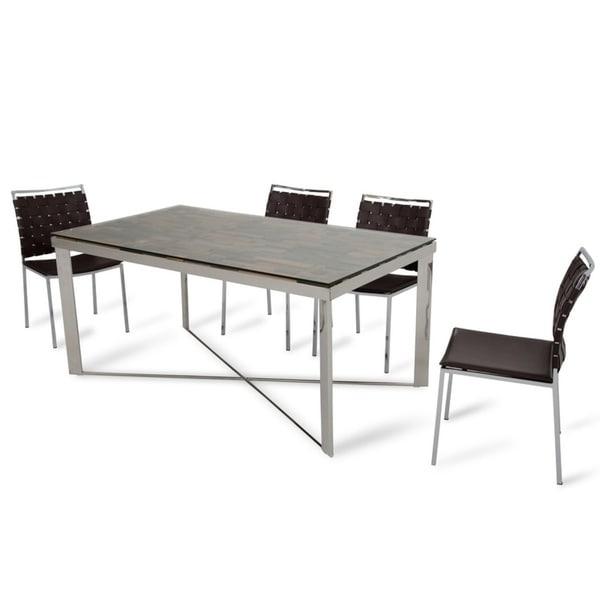 Shop Modrest Santiago Modern Rectangular Wood Mosaic Dining Table