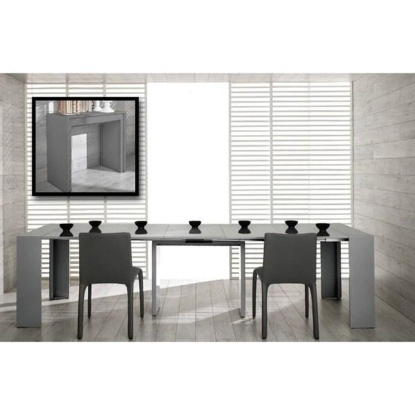 Modrest Morph Modern Ultra-Compact Extendable Grey Gloss Dining Table