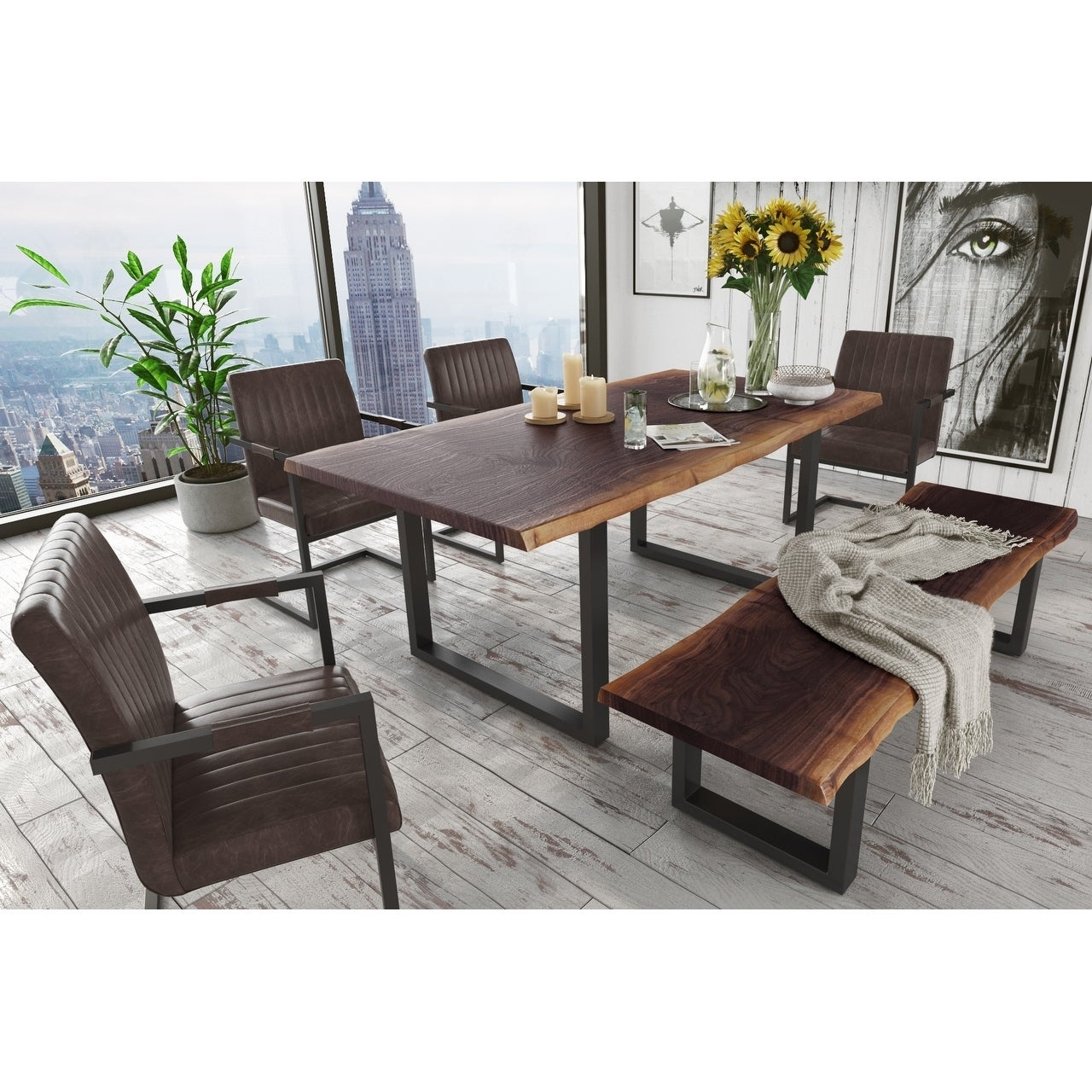Picture of: Modrest Taylor Modern Live Edge Wood Dining Table Black On Sale Overstock 25558655