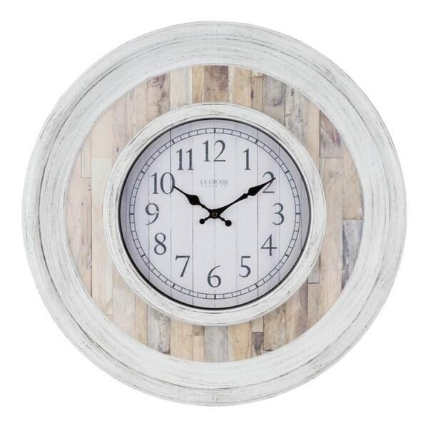 La Crosse Clock 404-3051B 20 Inch Weathered Wood Wall Clock