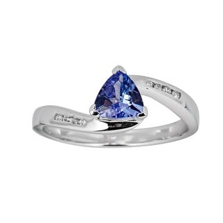 925 Sterling Silver Tanzanite Diamond Ring By Anika And August White