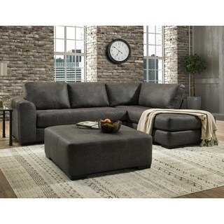 SofaTrendz Faith Smoke Grey Sectional & Ottoman 2-pc Set