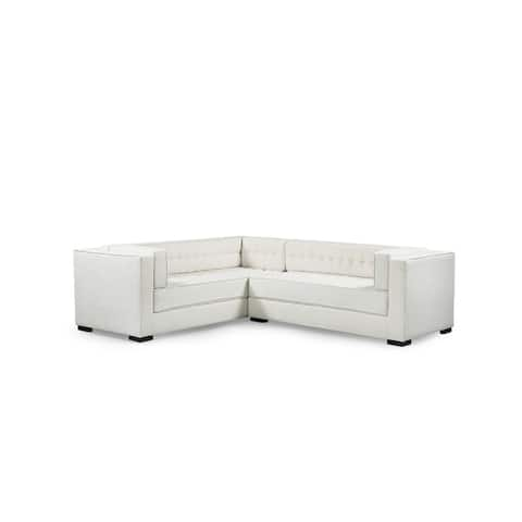 Chic Home Jasper Left Sectional Sofa PU Leather/Linen Upholstered