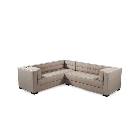 Chic Home Jasper Right Sectional Sofa PU Leather/Linen Upholstered