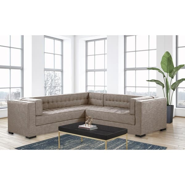 Shop Chic Home Jasper Right Sectional Sofa PU Leather/Linen ...