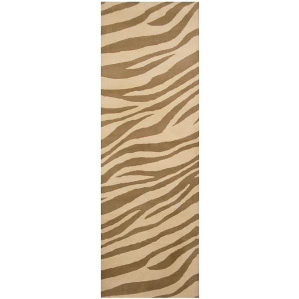 Handmade Zebra Wool Rug (India) - 2'6 x 8'