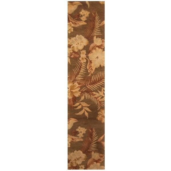 Handmade Tibetan Wool Rug (India) - 2'7 x 12'