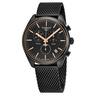 Tissot Men's T101.417.23.061.00 'PR 100' Black Dial Black Stainless Steel Mesh Chronograph Swiss Quartz Watch