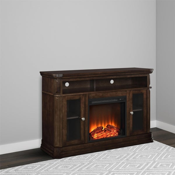 Ameriwood Home Brooklyn Espresso Electric Fireplace TV Console for TVs up to 50 inches