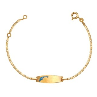 Link to Curata Solid 14k Children's 5.5-inch Engraveable Enamel Swimming Dophin ID Tag Bracelet  (6mm wide) Similar Items in Children's Jewelry