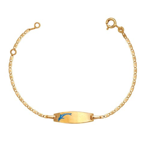 Curata Solid 14k Children's 5.5-inch Engraveable Enamel Swimming Dophin ID Tag Bracelet (6mm wide)