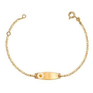 Link to Curata Solid 14k Children's 5.5-inch Engraveable Enamel Smiling Sun ID Tag Bracelet  (6mm wide) Similar Items in Children's Jewelry