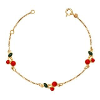 Curata Solid 14k Children's 5.5-inch Enamel Cherry Three-station Bracelet (6mm wide) - N/A