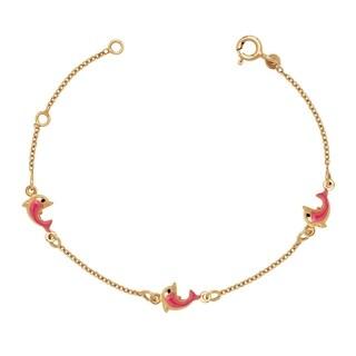 Curata Solid 14k Children's 5.5-inch Enamel Pink Dolphin Three-station Bracelet (6mm wide) - N/A