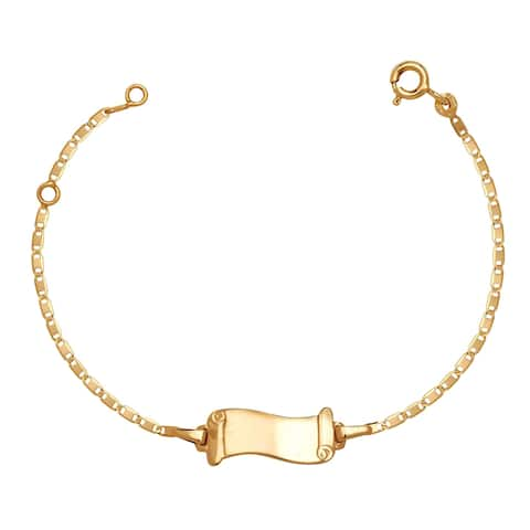 Curata Solid 14k Children's 5.5-inch Engraveable Flag Shaped ID Tag Bracelet (6mm wide)
