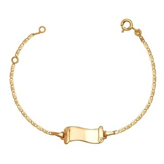 Curata Solid 14k Children's 5.5-inch Engraveable Flag Shaped ID Tag Bracelet (6mm wide) - N/A