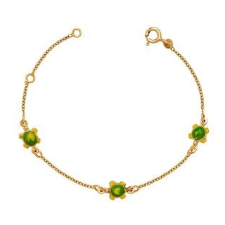 Curata Solid 14k Children's 5.5-inch Enamel Turtle Three-station Bracelet (6mm wide) - N/A