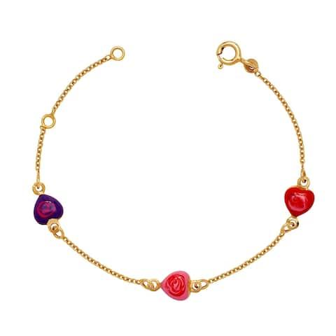 Curata Solid 14k Children's 5.5-inch Enamel Heart Three-station Bracelet (6mm wide)