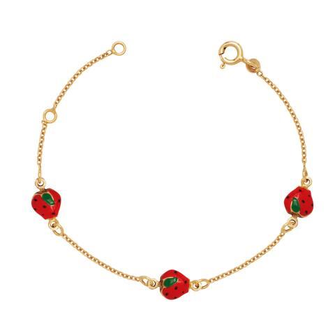 Curata Solid 14k Children's 5.5-inch Enamel Strawberry Three-station Bracelet (6mm wide)