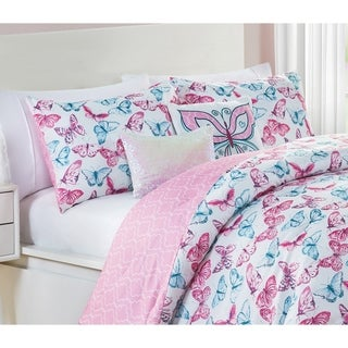 VCNY Home Pretty Butterfly Pink Reversible Comforter Set