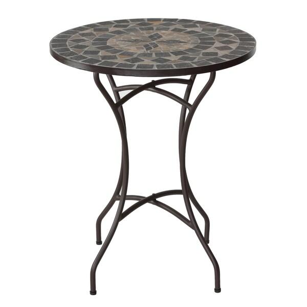 "Cortesi Home Mimi Mosaic Round Indoor/Outdoor Bistro Table, 28"""