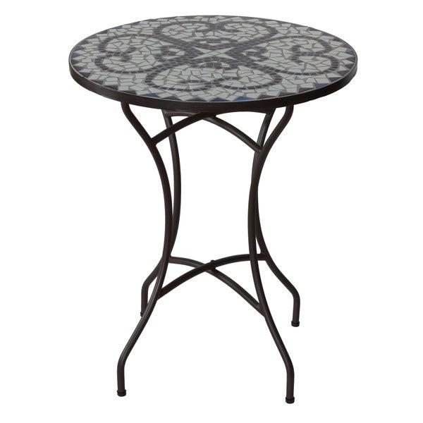 "Cortesi Home CeCe Mosaic Round Indoor/Outdoor Bistro Table, 24"""