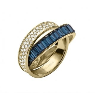 Michael Kors Baguettes Clear Pave Crossover Ring Size 7