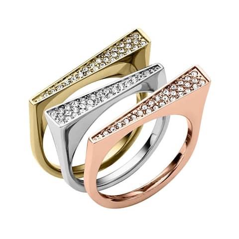 Michael Kors Pave Tri-Tone Triangle Ring Set SIZE 8
