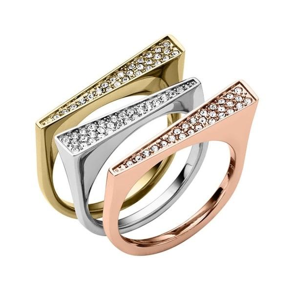 5b1f070e335cc Shop Michael Kors Pave Tri-Tone Triangle Ring Set SIZE 8 - Free Shipping  Today - Overstock.com - 25559898