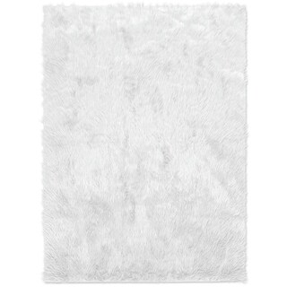 Ruggable Washable Indoor/Outdoor Stain Resistant Waterproof Pet Area Rug Luxury Shag White (5' x 7') - 5' x 7'