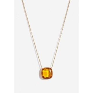 Michael Kors Goldtone Cushion-cut Citrine Pendant Necklace