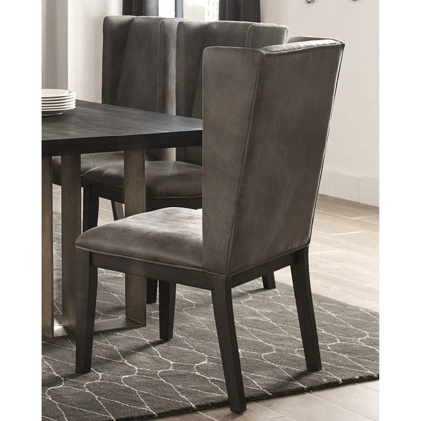 Wing-back Design Grey Upholstered Dining Chairs (Set of 2)
