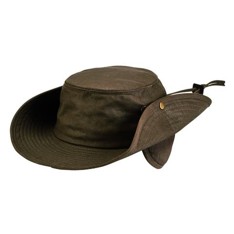 Brown Waxed Cotton Boonie with Side Snaps by San Diego Hat Company- Large